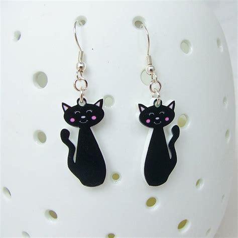 black cat earrings by hoobynoo notonthehighstreet