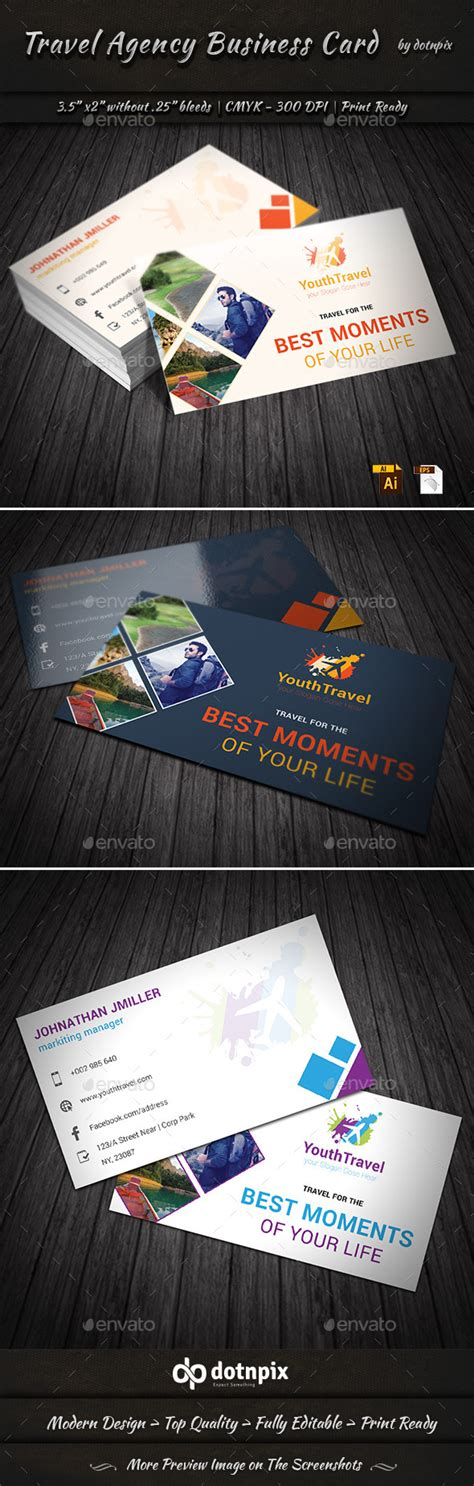 travel contact card template travel agency business card graphicriver