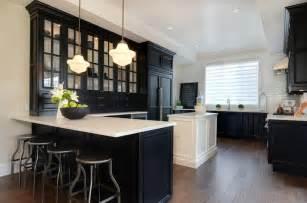 White Or Black Kitchen Cabinets Black Kitchen Cabinets With White Countertops Transitional Kitchen Jillian Harris