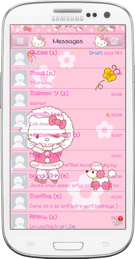 theme hello kitty go sms pro pretty droid themes hello kitty winter go sms theme