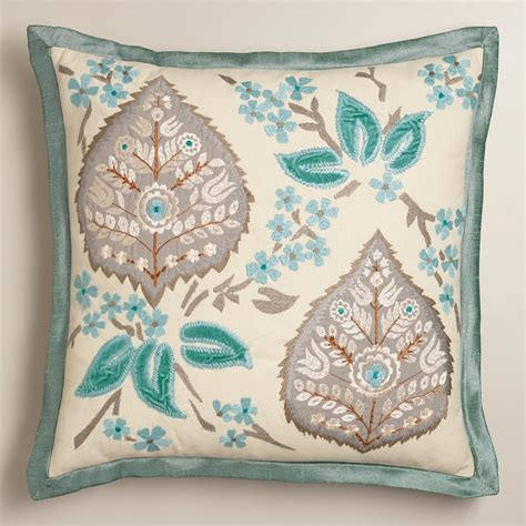 blue and gray pillows blue and gray embroidered leaf throw pillow world market