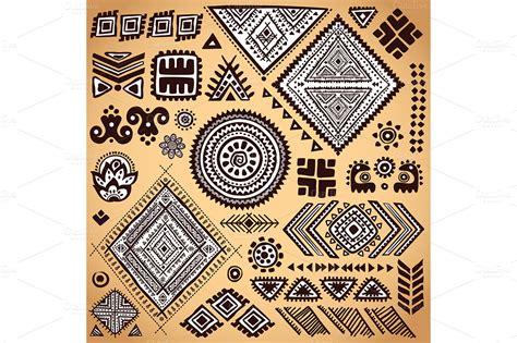 set of ethnic ornaments and symbols graphics on creative - Ethnic Ornaments