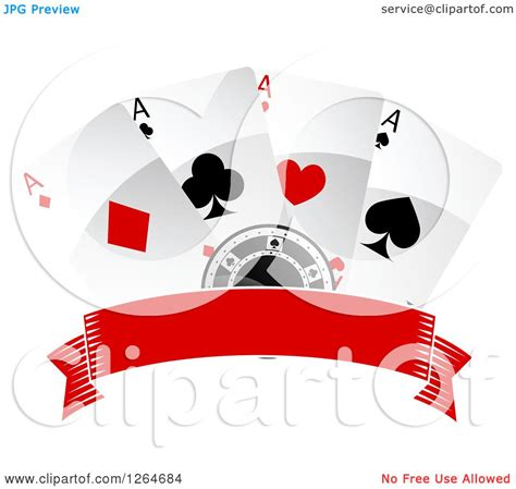 clipart of a poker chip with playing cards over a blank