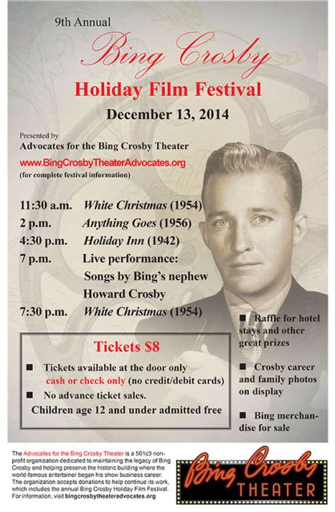 bing crosby holiday songs bing crosby holiday film festival bing crosby theater