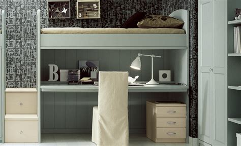 camerette con scrivania a soppalco letto a soppalco con scrivania scorrevole in legno