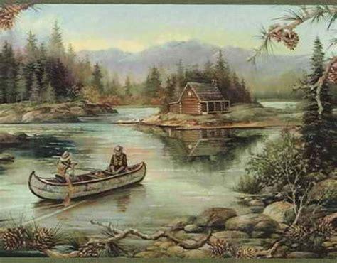 Cabin Wallpaper Border by Cabin Fishing Pinecone Peek Through Wallpaper Border