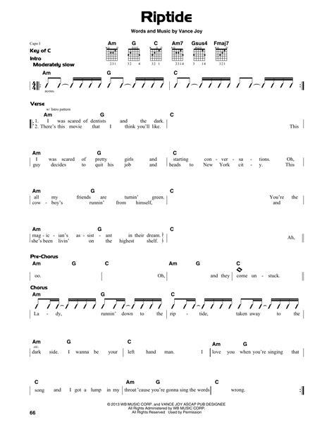 printable riptide lyrics riptide sheet music direct