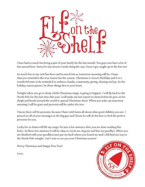 printable elf letter free printable goodbye letter from elf on the shelf on the