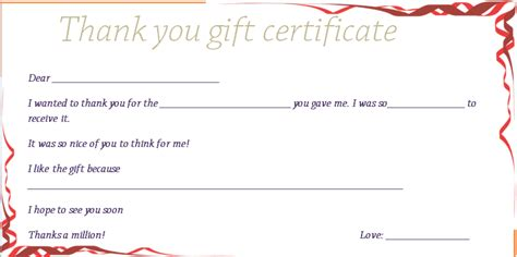 thank you certificate templates ribbons thank you gift certificate template