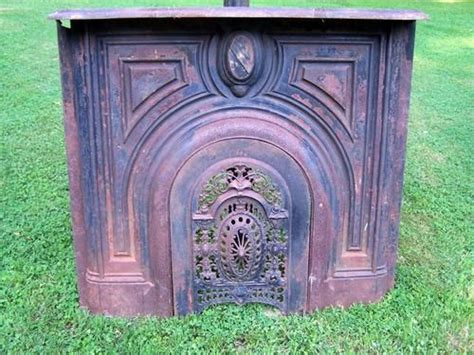 Antique 1830 Cast Iron Fireplace Mantel with Ornate Summer