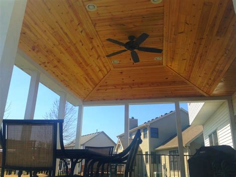 covered deck with vaulted ceiling