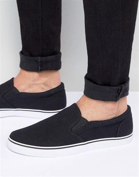 Canvas Slip On Sneakers asos slip on sneakers in black canvas in black for lyst