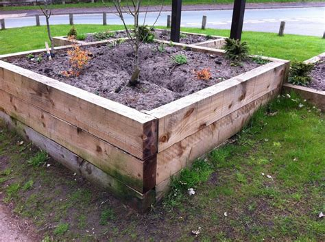 Raised Beds Railway Sleepers by Tittesworth Water Raised Beds With New Pine Railway Sleepers