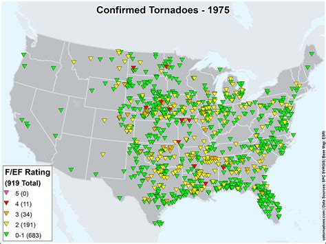 map of tornadoes today us tornadoes map1975 u s tornadoes