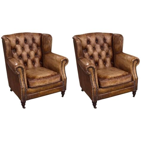 distressed leather recliner pair of english library chairs with distressed leather for