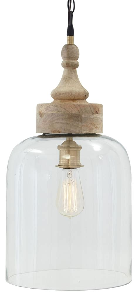 farmhouse pendant light fixtures glass and natural wood pendant light from ashley l000148