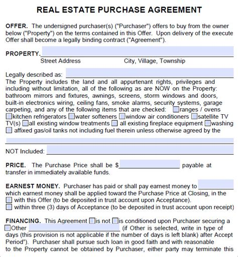 real estate purchase agreement 7 free pdf