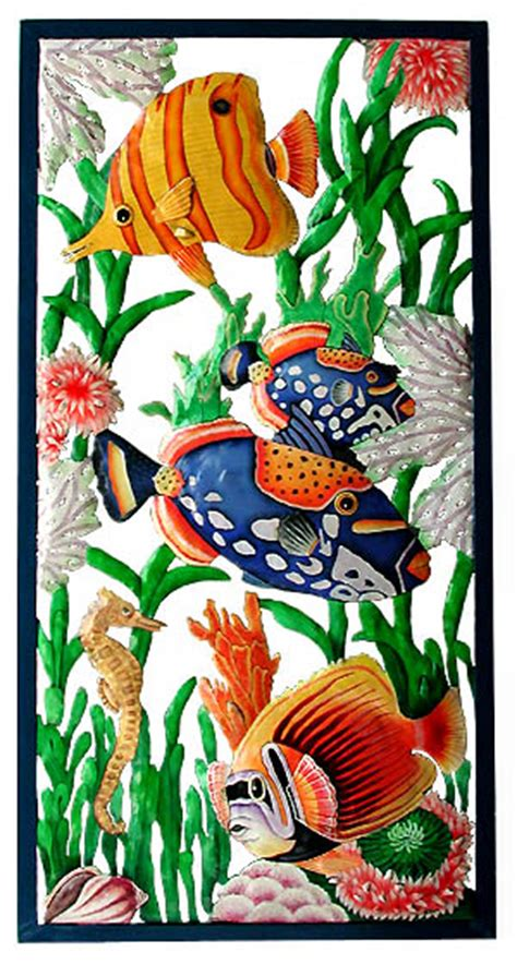 large painted tropical fish wall panel 17 quot x 35 quot