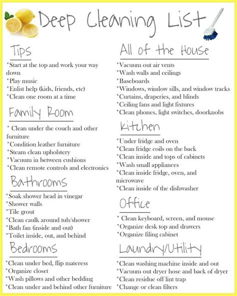 deep cleaning house checklist 15 best ideas about deep cleaning tips on pinterest