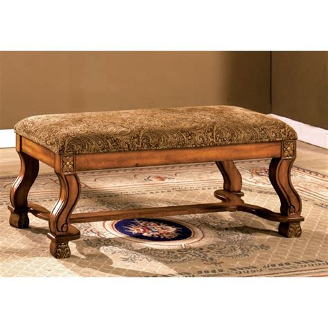 fabric benches furniture furniture of america rabin paisley fabric bench in antique