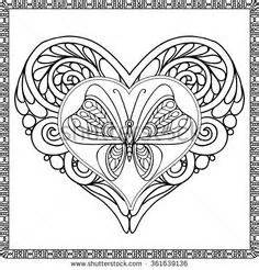 butterfly heart coloring pages decorative love heart with flowers and butterflies
