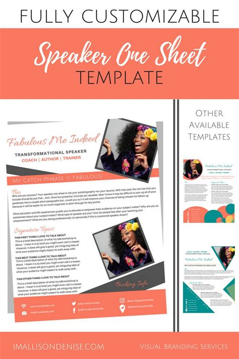 One Sheet Template Speaker One Sheet Template Boxed Allison Designs