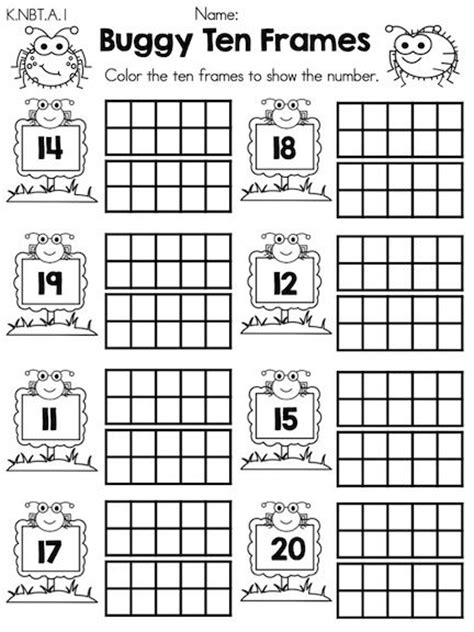 Ten Frame Worksheet by Kindergarten Math Worksheets Common Aligned