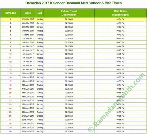 Kalendar 2018 Danmark Ramadan 2017 Danmark Kalender