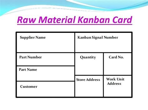 Kanban Card 2 Card 3 Card In One Particular Version Of The Kanban System A Move Card Is Used To Kanban Card Template