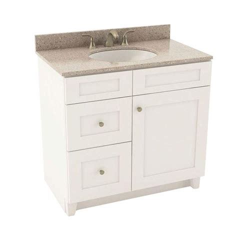 Silestone Bathroom Vanity American Woodmark Reading 37 In Vanity In Linen With Left Drawers And Silestone Quartz Vanity