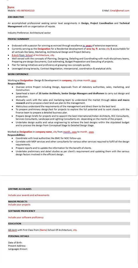 Download Free Sle Architect Resume Senior Level Resume Template
