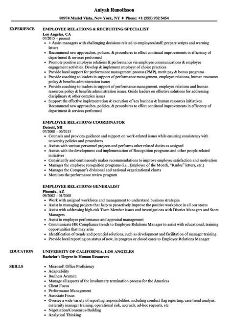 employee relations resume sles velvet