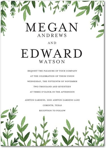 Wedding Invitations Greenery by Greenery Wedding Ideas For A Wedding Shutterfly