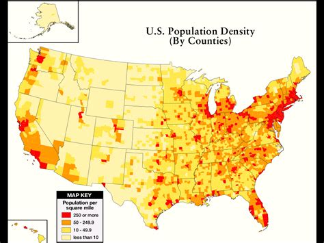 map us population a guide to population growth and density