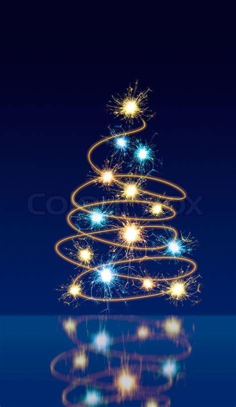 moving sparkling lights forming shape  christmas tree  dark blue background  reflection