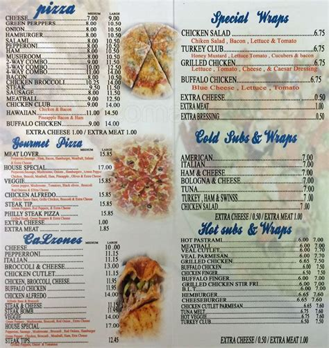 Blue Hill House Of Pizza Menu Menu For Blue Hill House Of Pizza Roxbury Boston