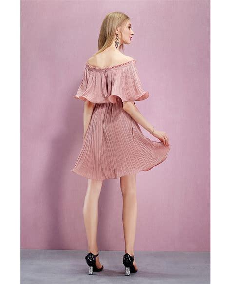 Shoulder Pleated Dress the shoulder flounce pleated dress gemgrace