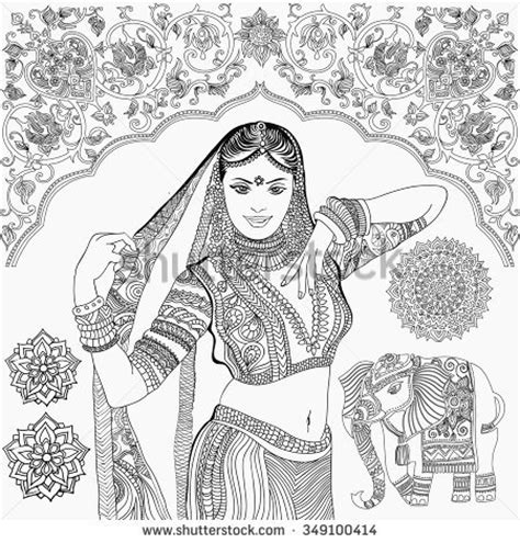 indian bride coloring page beautiful indian woman black white illustration stock