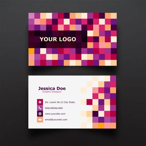 Business Card Pixels colorful pixel business card design vector free