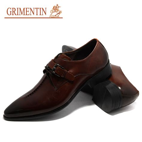 Handmade Italian Shoes Brands - 2015 brand dress leather shoes pointed toe buckle