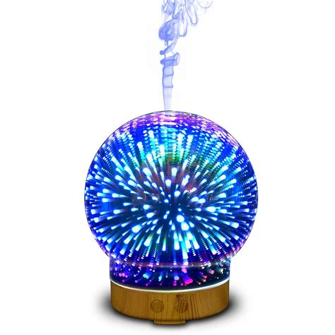 essential oil diffuser with light 100ml 3d glass aromatherapy essential oil diffuser with