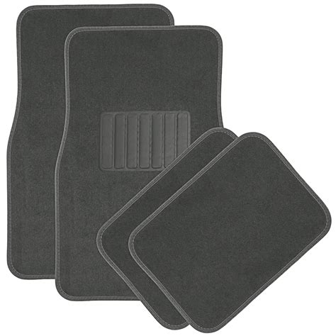 car floor mats for auto 4pc carpet semi custom fit heavy duty w heel pad grey ebay