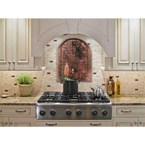 decorative kitchen backsplash directions wine cellar 22 in w x 28 in h stonecast decorative tile backsplash in copper