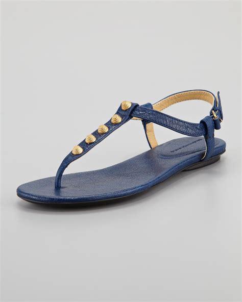 balenciaga flat shoes balenciaga arena golden flat in blue bleu mineral