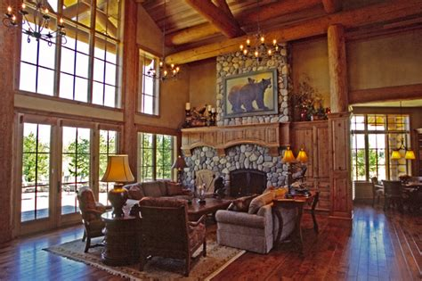 lodge living room mountain lodge eclectic living room portland by