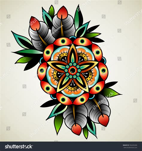 old school flower tattoo designs school flowers design stock vector
