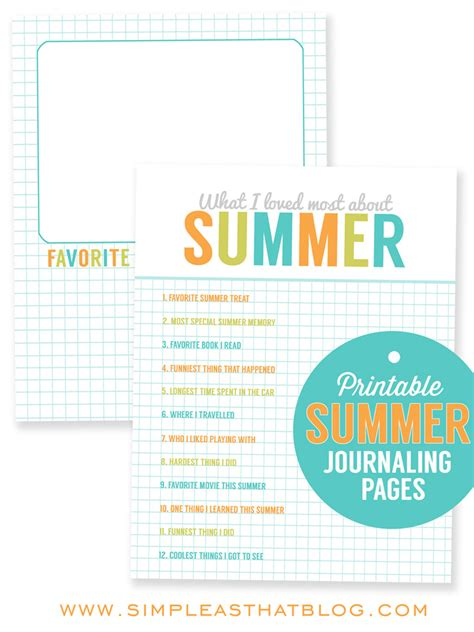 printable summer journal pages printable summer journaling pages