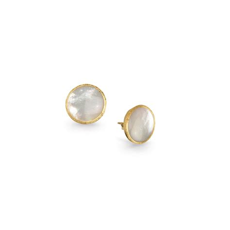 of pearl yellow earrings 18k yellow gold of pearl button earrings