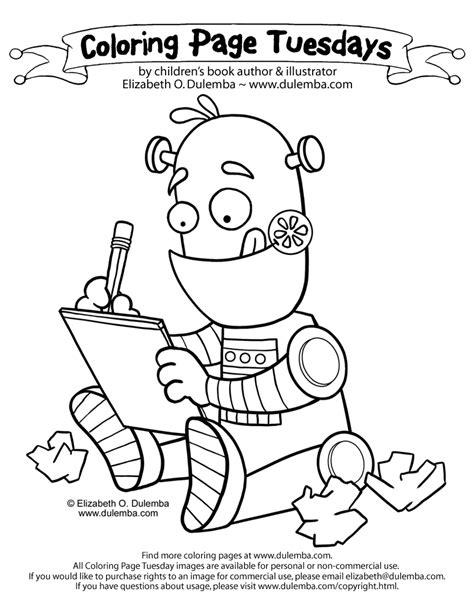 dulemba coloring page tuesday writing robot