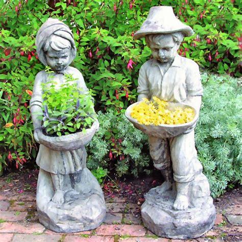 flower garden statues flower boy garden statues garden planters